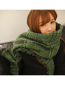 Fashion Green Houndstooth Pattern Simple Design  Woolen Yarn knitting Wool Scaves