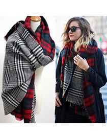 Fashion Red Grid Pattern Simple Design  Woolen Yarn knitting Wool Scaves