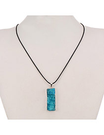 Personality Blue Rectangle Stone Pendant Decorated Simpledesign Alloy Chains