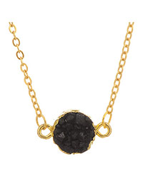 Personality Black Stone Pedant Decorated Simple Design Stone Chains