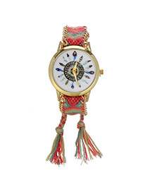 Retro Pink+light Green Feather Pattern Decorated Weave Tassel Design  Alloy Ladies Watches
