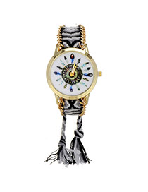 Retro Gray +black Feather Pattern Decorated Weave Tassel Design  Alloy Ladies Watches