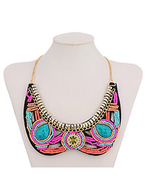 Bohemian Red+plum Red+green Geometric Shape Decorated Collar Design