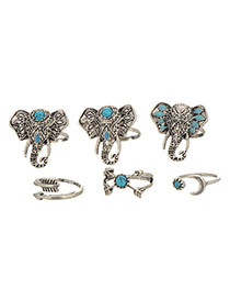 Retro Silver Color Elephant Head Decorated Simple Design(6pcs)  Alloy Korean Rings