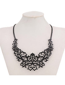 Elegant Black Hollow Out Flower Shape Decorated Simple Design Alloy Bib Necklaces