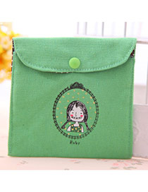Personality Green Little Girl Pattern Decorated Simple Design  Canvas Household goods