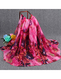 Pretty Plum Red Rose Pattern Decorated Simple Design  Cotton Thin Scaves