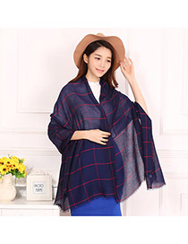 Pretty Navy Blue Grid Pattern Decorated Simple Design  Cotton Thin Scaves
