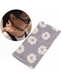 Pretty Light Purple Daisy Pattern Decorated Simple Design  Cotton Thin Scaves