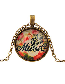 Retro Red Round Shape Pendant Letter&music Notation Pattern Design
