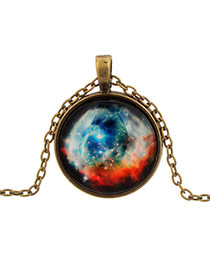 Retro Multi-color Round Shape Pendant Star Pattern Design