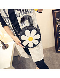 Cute Black Sunflower Pattern Decorated Round Shape Design  Pu Messenger bags