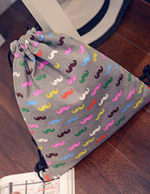 Personality Gray Mustache Pattern Decorated Simple Design  Canvas Backpack