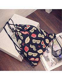 Personality Black Lip&sunglass Patter Decorated Simple Design  Canvas Backpack