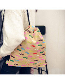 Personality Khaki Mustache Pattern Decorated Simple Design  Canvas Backpack