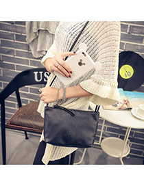 Personality Black Pure Color Decorated Simple Design  Pu Messenger bags