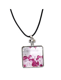 Elegant Plum Red+white Diamond Decorated Square Perfume Bottle Pendant Design