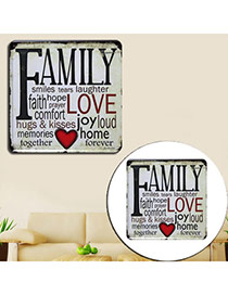 Nostalgic Gray Letter Family Decorated Metal Painting Iron Household goods