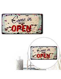 Nostalgic Green+yellow Letter Open Decorated Metal Painting Iron Household goods