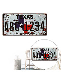 Nostalgic Gray Letter Texas Abc1234 Decorated Metal Painting Iron