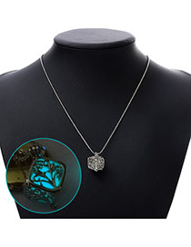 Personality Blue Hollow Out Square Pendant Decorated Noctilcent Design Alloy Chains