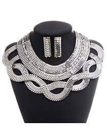 Exaggerate Silver Color Metal Chian Weave Decorated Hollow Out Collar Design Alloy Jewelry Sets