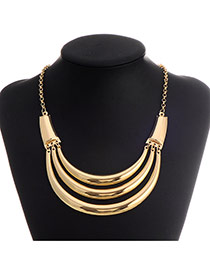 Retro Gold Color Crescent Shape Decorated Multilayer Design  Alloy Korean Necklaces