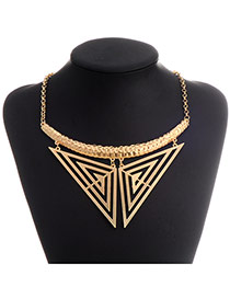 Exaggerate Gold Color Two-triangle Pendant Decorated Simple Design  Alloy Korean Necklaces