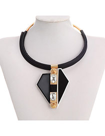 Exaggerate Black Double Triangle Pendant Decorated Simple Design  Alloy Fashion Necklaces