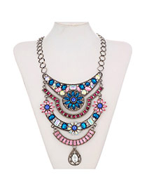 Retro Antique Silver+multi-color Hollow Out Flower Shape Decorated Multilayer Design Alloy Bib Necklaces