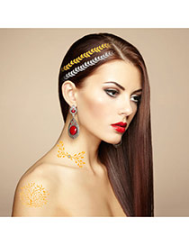 Personality Gold Color+silver Color Tree Patter Flash Sheet Temporary Hair Sticker  Paper Tattoos body Art