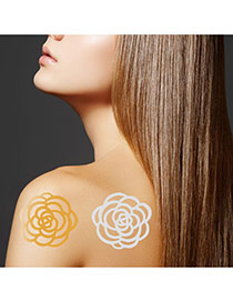 Personality Gold+silver Color Flower Pattern Flash Sheet Temporary Hair Sticker