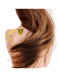 Personality Gold Color+black Leopard Pattern Flash Sheet Temporary Design Paper Tattoos body Art