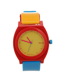 Fashion Yellow+blue Arabic Numeral Decorated Simple Design  Silicone Ladies Watches