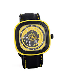 Casual Yellow Second Disc Decorated Square Shape Design  Platic Men's Watches