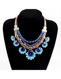 Fashion Blue Flower Decorated Multilayer Design