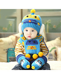 Lovely Blue Ball Decorated Robot Pattern Design With Scarf Wool Children's Hats