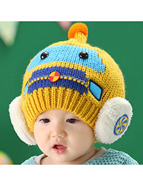 Lovely Yellow Ball Decorated Robot Pattern Design With Scarf