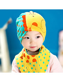 Lovely Blue+yellow Dots Pattern Decorated Catoon Deer Design With Scarf Cotton Children's Hats