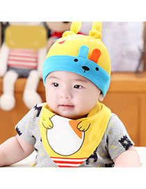 Lovely Yellow Ears Deocrated Cartoon Rabbit Pattern Design With Scarf Cotton Children's Hats