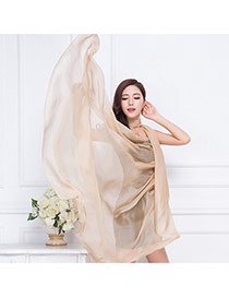 Simplicity Khaki Pure Color Decorated Simple Design Chiffon Thin Scaves