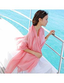Simplicity Pink Pure Color Decorated Simple Design Chiffon Thin Scaves