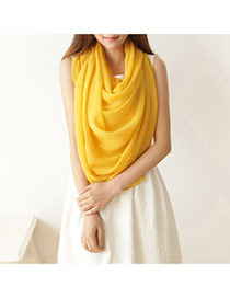 Simplicity Yellow Pure Color Decorated Simple Design Chiffon Thin Scaves
