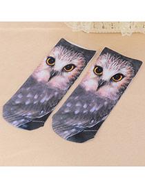 Retro Gray Owl Pattern Decorated 3d Effect Design  Spandex Fashion Socks