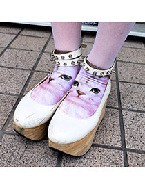 Retro Brown Cat Pattern Decorated 3d Effect Design  Spandex Fashion Socks