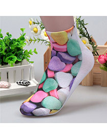 Retro Muticolor Candy Pattern Decorated 3d Effect Design  Spandex Fashion Socks