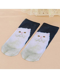 Retro White Cat Pattern Decorated 3d Effect Design  Spandex Fashion Socks