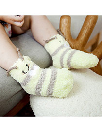 Lovely Light Yellow Cartoon Bee Pattern Decorated Simple Design For Kids  Coral Velvet Fashion Socks