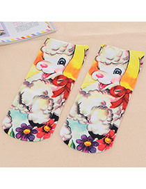 Retro Multicolor Sheep Pattern Decorated 3d Effect Design  Spandex Fashion Socks