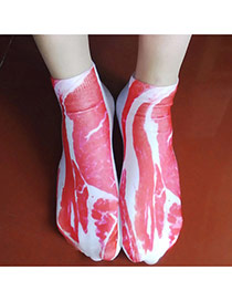 Retro Red+white Meat Pattern Decorated 3d Effect Design  Spandex Fashion Socks